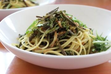 ワラビとツクシのスパゲッティ