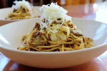 さば味噌煮缶のスパゲッティ