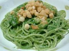緑のクリーム・スパゲッティ