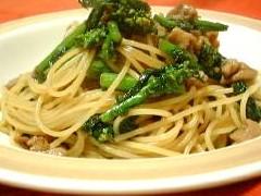 菜の花の生姜風味スパゲッティ